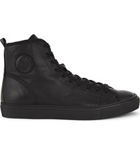 The Kooples Leather High Top Trainers Black