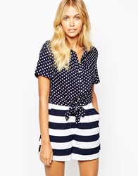 Fashion Union Crop Shirt With Tie Waist In Polka Dot Navypolkadot
