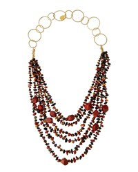 Devon Leigh Long Layered Multi Strand Stone Necklace Red Black Multi