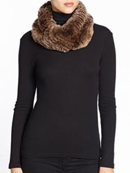 Surell Sheared Rabbit Fur Infinity Scarf Brown