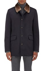 Gimos Men's Fur Collar Shearling Lined Cashmere Coat Navy