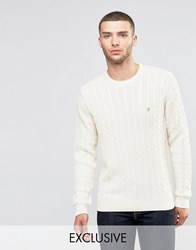 Farah Jumper With Cable Knit Exclusive Chalk Cream