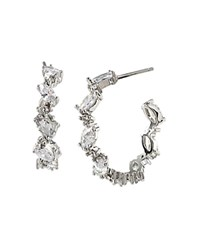 Carolee Embellished Hoop Earrings Silver