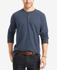 G.H. Bass And Co. Men's Big And Tall Long Sleeve Henley Dark Midnight Heather