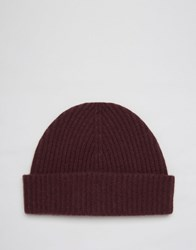 Asos Cashmere Beanie In Burgundy Burgundy Red