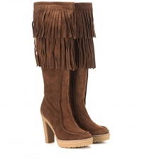 Polo Ralph Lauren Trudy Fringed Suede Boots Brown
