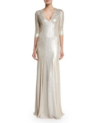 Jenny Packham 3 4 Sleeve Beaded Silk Gown Lunar