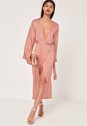 Missguided Silky Kimono Maxi Dress Pink Pink