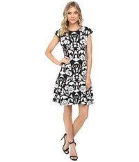Vince Camuto Blister Knit Cap Sleeve Fit And Flare Dress Black White Women's Dress