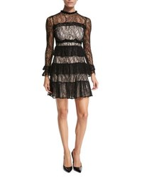 Alexis Sally Tiered Lace Mini Dress Black Black Lace