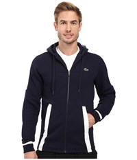 Lacoste T2 Fleece Color Block Zip Hoodie Navy Blue White Men's Sweatshirt