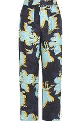 Cedric Charlier Printed Washed Silk Wide Leg Pants Blue
