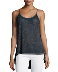 Dex Open Back High Low Tank Navy Burnout