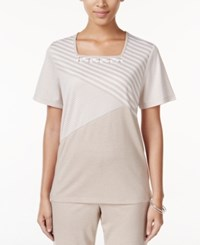 Alfred Dunner Acadia Collection Mixed Print Beaded Top Fawn