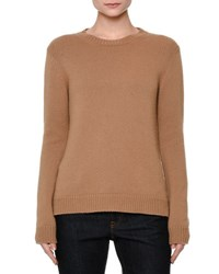 Valentino Long Sleeve Knit Cashmere Sweater Camel