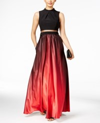 Betsy And Adam Illusion 2 Pc. Ombre Gown Black Red