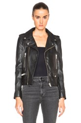 Nicholas Leather Zip Biker Jacket In Black