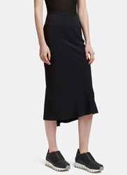 Rick Owens Asymmetric Stitched Mid Length Skirt Black
