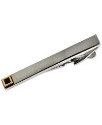 Ike Behar Detailed Tip Silver Tie Bar