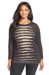 Plus Size Women's Nic Zoe 'Firelight' Linen Blend Crewneck Sweater