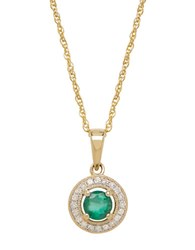 Lord And Taylor 14K Yellow Gold Emerald Diamond Pendant Necklace Emerald Gold