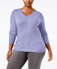 Charter Club Plus Size Cashmere V Neck Sweater Only At Macy's Larkspur