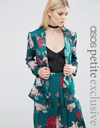 Asos Petite Satin Soft Jacket In Japanese Floral Print Teal Green