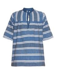 Ace And Jig Saltspring Woven Cotton Top Blue White