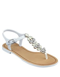 Ivanka Trump Areya Jeweled T Strap Sandals White