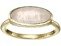 Cole Haan Basket Weave Oval Semi Precious Ring Gold Rose Quartz Ring