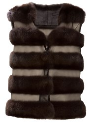 Liska Sable Fur Gilet Brown
