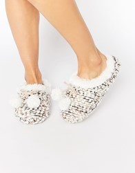 Totes Bobble Knit Mule Slippers Cream