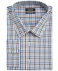 Alfani Black Men's Big And Tall Classic Fit Blue Multi Gingham Dress Shirt Only At Macy's