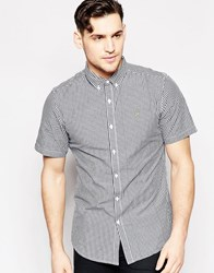 Farah Shirt With Gingham Check Slim Fit Short Sleeves Navy