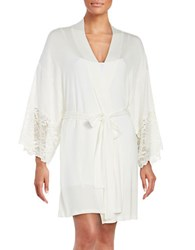 Flora Nikrooz Lace Trimmed Robe Natural