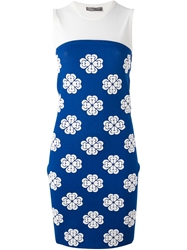 Alexander Mcqueen Embossed Flower Jacquard Tube Dress Blue