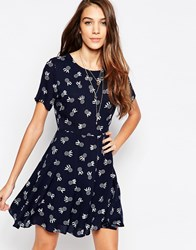 Neon Rose Tea Dress In Dream Catcher Print Black