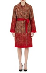 Alberta Ferretti Tweed Belted Wrap Coat Multi Size 42 It