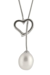 6 7Mm Freshwater Pearl And Heart Lariat Necklace White
