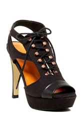 Diesel Lady On The Trek Hole Trek High Heel Platform Sandal Black