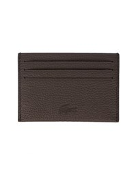 Lacoste Brown Leather Embossed Logo Card Wallet