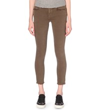 True Religion Halle Super Skinny Cropped Mid Rise Jeans Olive Drab