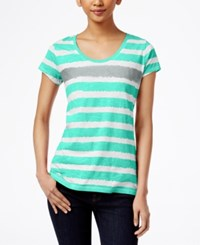Styleandco. Style Co. Striped Tee Only At Macy's Pacific Aqua City Silver