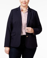 Charter Club Plus Size Two Button Blazer Only At Macy's Deepest Navy