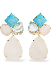 Bounkit Gold Tone Multistone Earrings White