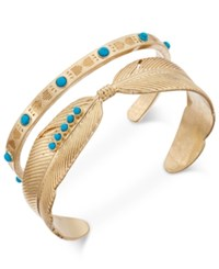 Danielle Nicole Gold Tone Turquoise Look Feather Cuff Bracelet Set Of Two Turq Aqua