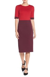 Maggy London Petite Women's Colorblock Scuba Midi Dress Persian Red Dried Cherry