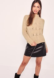 Missguided High Neck Chunky Cable Crop Jumper Camel
