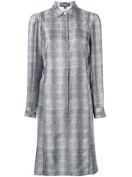 Salvatore Ferragamo Snakeskin Graphic Shift Dress Grey