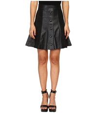 Just Cavalli Suede Leather Panel Snap Front Skirt Black